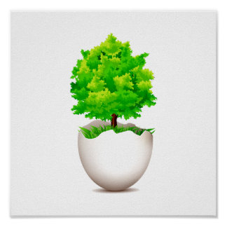 maple tree growing out of eggshell eco graphic.png poster