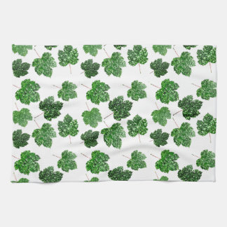 Maple Tropical Cali Green Leaf Nature White Wood Tea Towel