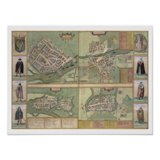 Maps of Galway, Dublin, Limerick, and Cork, from ' Poster