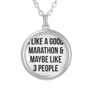 Marathon & 3 People Silver Plated Necklace