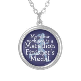 Marathon Finisher's Medal- denim Silver Plated Necklace