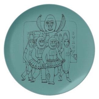 Marathon Line Art Design Dinner Plate