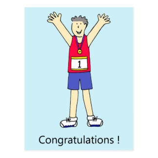 Marathon runner male congratulations. postcard