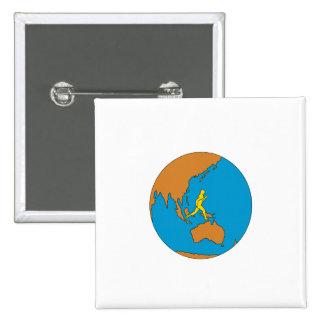 Marathon Runner Running Around World Asia Pacific 15 Cm Square Badge