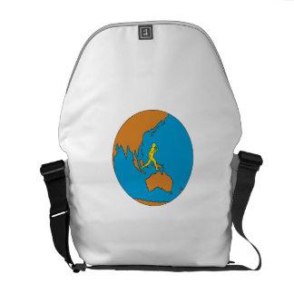 Marathon Runner Running Around World Asia Pacific Courier Bags