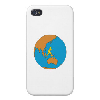 Marathon Runner Running Around World Asia Pacific iPhone 4 Case