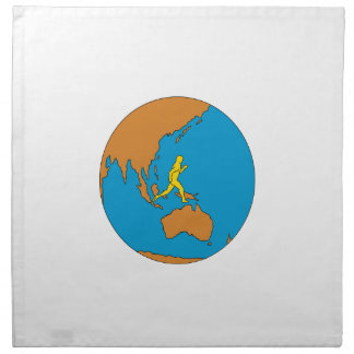 Marathon Runner Running Around World Asia Pacific Napkin