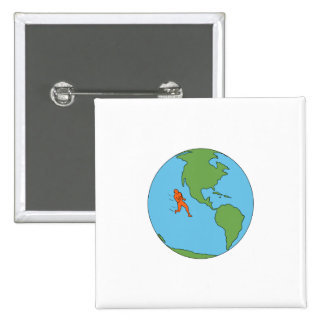 Marathon Runner Running North and South America Dr 15 Cm Square Badge