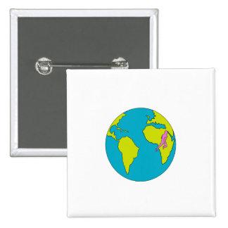 Marathon Runner Running South America Africa Drawi 15 Cm Square Badge