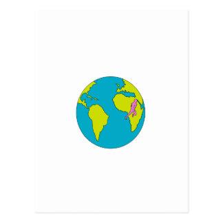 Marathon Runner Running South America Africa Drawi Postcard