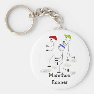 Marathon Runners Basic Round Button Key Ring