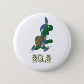 Marathon Turtle Runner in Blue 6 Cm Round Badge