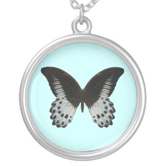 Marbel Swallow Tail Butterfly Round Pendant Necklace