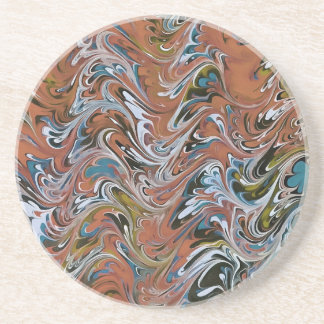 Marble Abstract In Red Coaster
