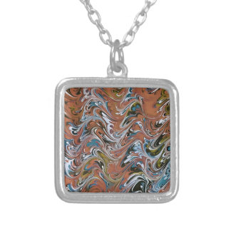 Marble Abstract In Red Silver Plated Necklace