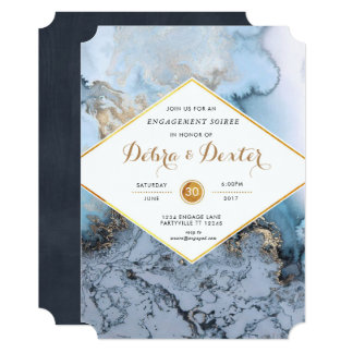 Marble Agate Engagement Invitation