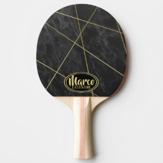 Marble and Gold Geometric Lines with Name Ping Pong Paddle