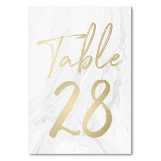 Marble and Gold Script | Table Number Card 28