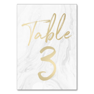Marble and Gold Script | Table Number Card 3