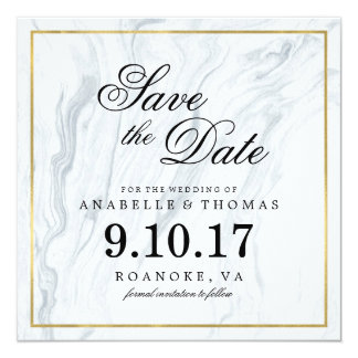 Marble and Gold Wedding Save the Date 13 Cm X 13 Cm Square Invitation Card
