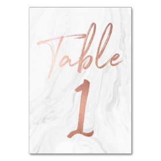 Marble and Rose Gold Script | Table Number Card 1