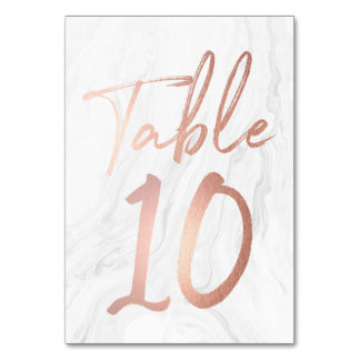 Marble and Rose Gold Script | Table Number Card 10 Table Card