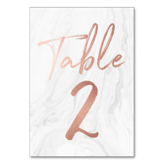 Marble and Rose Gold Script | Table Number Card 2