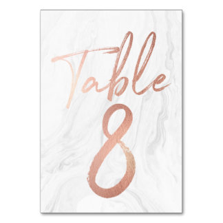 Marble and Rose Gold Script | Table Number Card 8 Table Cards