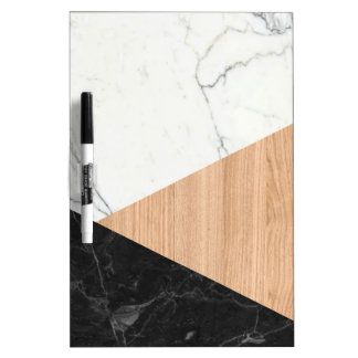 Marble and Wood Abstract Dry Erase Board