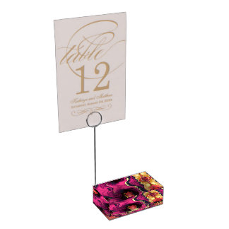 Marble artwork, gold and purple. table card holders