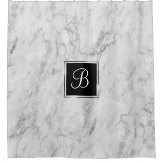 Marble Bath | Classic Monogram Chic Basic Simple | Shower Curtain