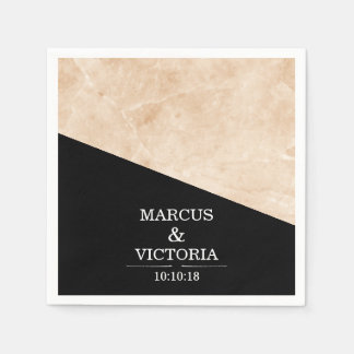 Marble black and white wedding disposable serviettes