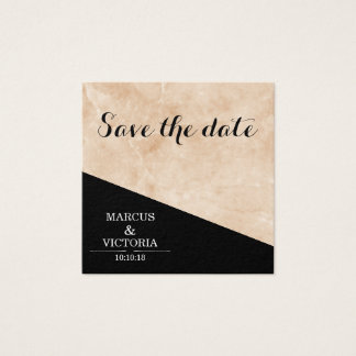 Marble black and white wedding square business card