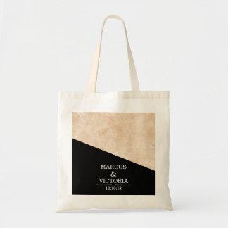 Marble black and white wedding tote bag