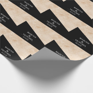Marble black and white wedding wrapping paper