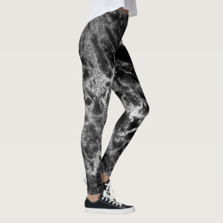 Marble Black Gray Silver Abstract Molten Night Out Leggings