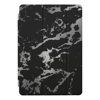 Marble Black Silver  Stone Gray Abstract iPad Pro Cover
