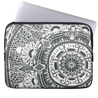 Marble circle laptop sleeve. mandala art pattern computer sleeves