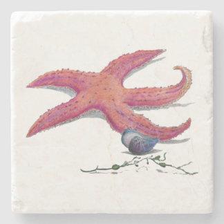 marble coaster tile starfish