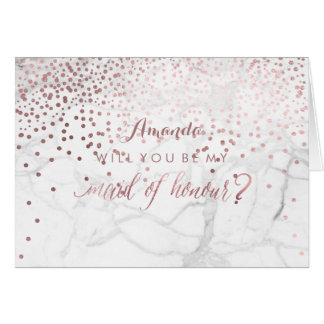Marble+Confetti Will You Be My Maid of Honour Card