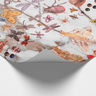Marble Copper Meadow Butterfly Insects Gem Diamond Wrapping Paper