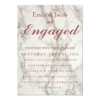 Marble Elegant Wedding Engagement 11 Cm X 16 Cm Invitation Card