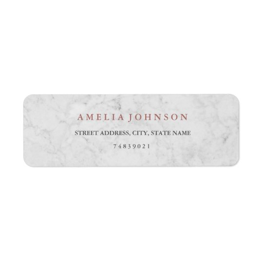 Marble Faux Rose Gold Address Label