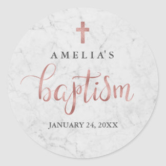 Marble Faux Rose Gold Baptism Sticker