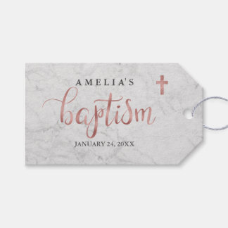 Marble Faux Rose Gold Baptism Tags