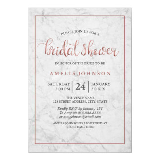marble Faux rose gold bridal shower Invitation