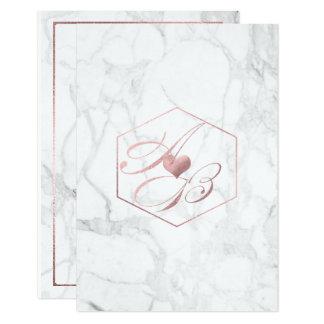 Marble, Faux Rose Gold Fancy Script Monograms Card