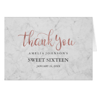 Marble Faux Rose Gold Sweet Sixteen Thank You Card
