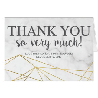 Marble Geometric Elegant Wedding Thank You Card