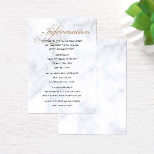 Marble Geometric Wedding Details card